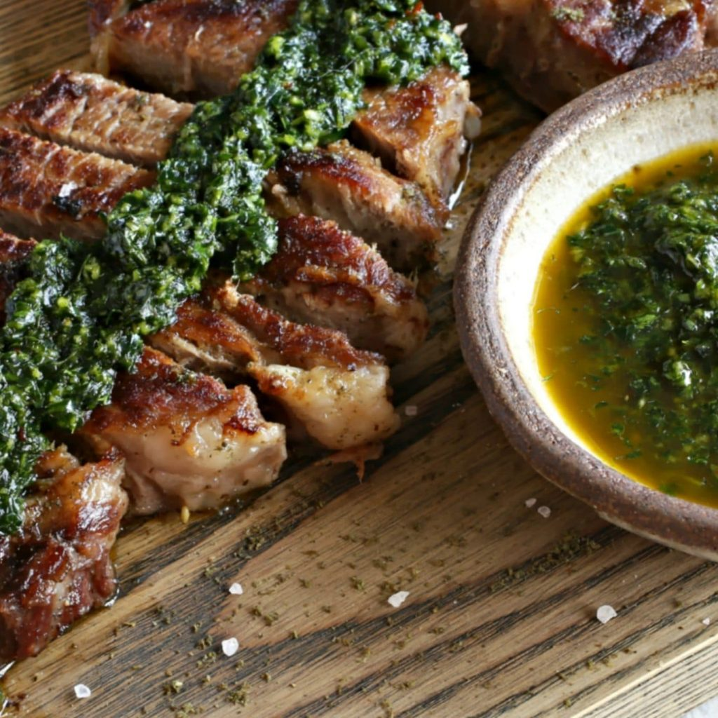 ZIyad Za'atar Crusted Steak with Spicy Shatta Chimichurri